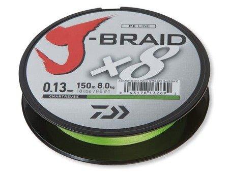 Plecionka Daiwa J-BRAID X8 0.10MM / 150M / CH