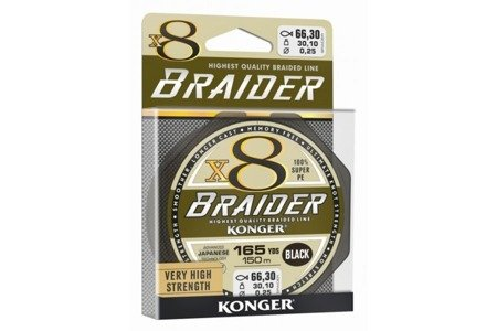 Plecionka Konger Braider X8 Black 0,12 / 150